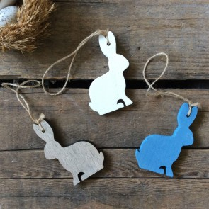 Natural/Blue/White Wooden Easter Bunny Decorations - Set of 3