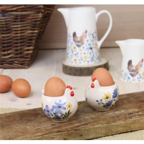 Country Folk Ceramic Hen Egg Cup - Set of Two