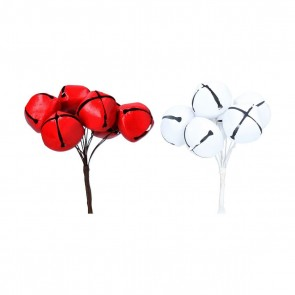 Set of 2 Pick 12cm - Red/White Jingle Bell Bunch