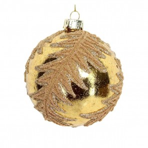 Glass Bauble 8cm - Gold/Gold Beaded Leaf