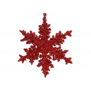 Acrylic Decoration 17cm - Red Glitter Snowflake
