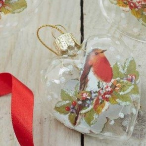 Clear Heart With Robin Decoration