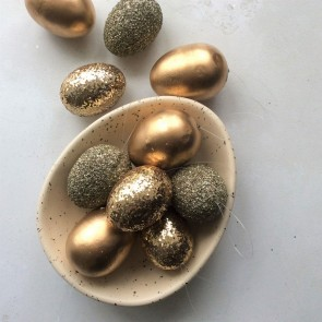 Matt Glitter Gold Easter Egg Decorations - Bag of 10