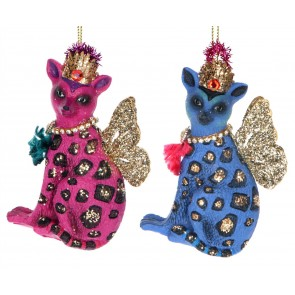 Set of 2 Resin Decorations 9cm - Blue/Pink Regal Lemurs