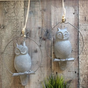 Grey Resin Owl On Branch Decoration