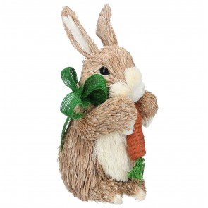 Bristle Easter Bunny with Carrot and Green Bow