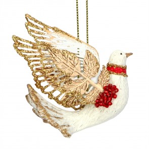 Resin Decoration 6cm - Dove w Metal Wings