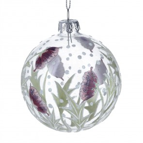 Clear Glass Bauble with Mauve Hellebore/Flower Design, 8cm