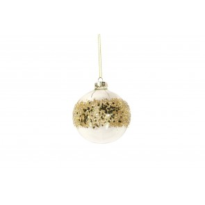 Glass Bauble 8cm - Clear/Gold Sequin Band