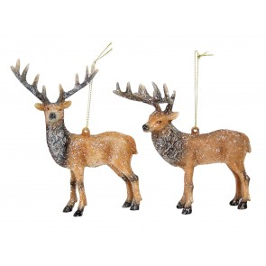 Set of 2 Acrylic Stag 15cm -Brown