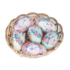 6 Floral Bunny Eggs in Basket