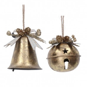 Set of 2 Metal Dec 10cm - Gold Bell w Bow/Jingle Bell
