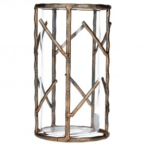 Old Gold Bamboo Metal Tealight Holder - Large