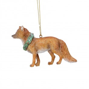 Resin Decoration 10cm - Fox with Wreath