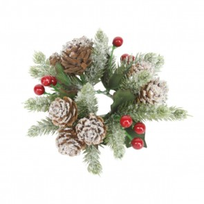 Candle Ring 12cm - Snowy Cones/Fir/Red Berries
