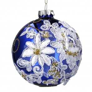 Lacquered Blue Bauble with Fabric Flowers
