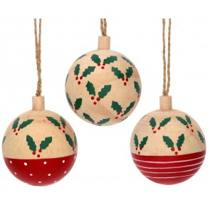 Set of 3 Wood Baubles 6cm - Holly Patterns