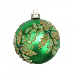 Emerald Green Beaded Holly Glass Bauble