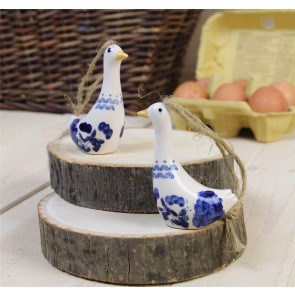 Blue and White Ceramic Goose Decorations - Set of Two