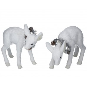 Set of 2 Bristle Ornaments 19cm - White Deer w Wreath