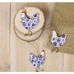 Blue and White Wood French Hen Decorations - Set of Three