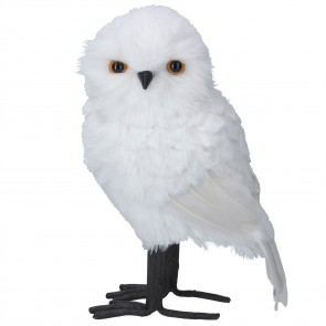 Plush Ornament 27cm - White Faux Fur Owl