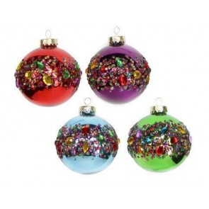 Set of 4 Coloured Baubles With Jewel Band