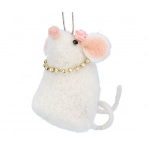 Wool Decoration 8cm - White Mouse w Necklace