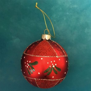 Red Bauble With Mistletoe Band