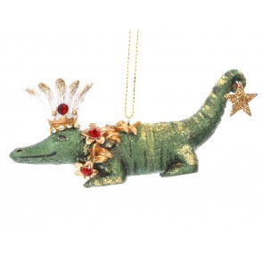 Resin Decoration 11cm - Crocodile/Crown & Star