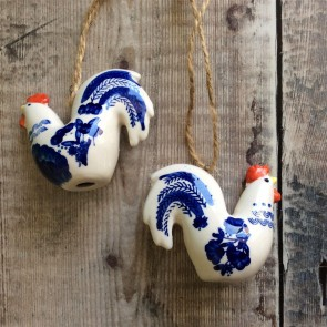 Blue and White Ceramic Cockerel Decoration - Set of Two
