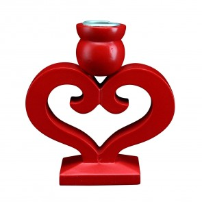 Red Wood Heart Candle Holder