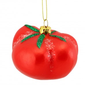 Glass Tomato Christmas Tree Decoration, 6cm