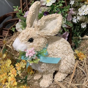 Bristle Bunny with Flowers Ornament
