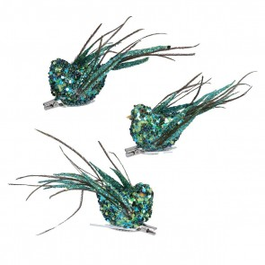 Set of 3 Clip on Bird 12cm - Peacock Sequin/Feather