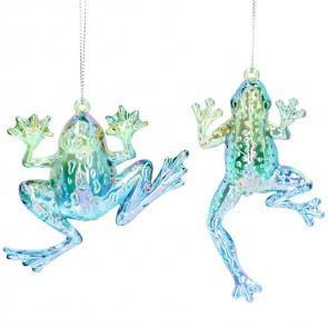 Set of 2 Acrylic Decorations 11cm - Frogs