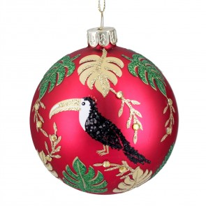 Red Glass Christmas Bauble with Toucan Jungle Design, 8cm