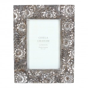 Pewter Floral Picture Frame Small