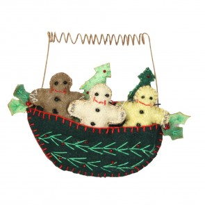 Felt Gingerbread Men in Boat Christmas Decoration