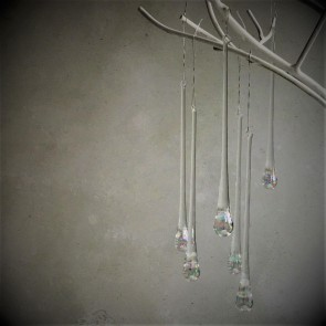 Set of Six Iridescent Glass Droplets