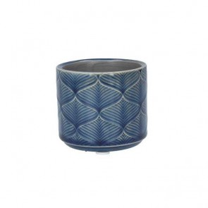 Mini Navy Wavy Ceramic Pot Cover