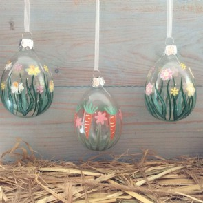 Spring Garden Painted Glass Easter Egg Decorations - Set of Three