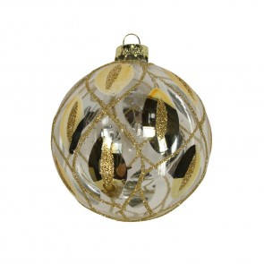 Glass Bauble With Gold Peacock Feather Trellis