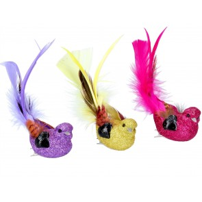 Clip on Bird (11cm) - Multi w Glitter, 3as