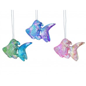Set of 3 Acrylic Decorations 4cm - Iridescent Fish