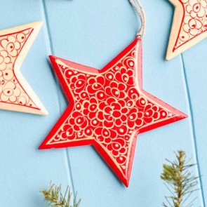 Handpainted Red Star Christmas Decoration