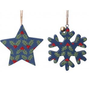 Set of 2 Wood Decorations 8cm - Blue/Holly Pattern