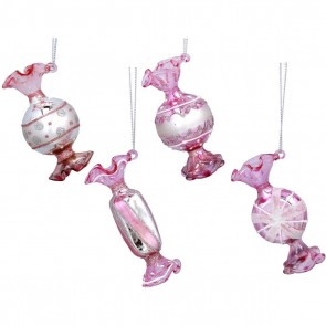 Set of 4 Glass Shape 8cm - Pink/White Sweets