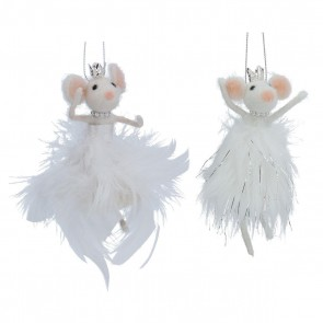 Set of 2 Fabric Dec 9cm - Wool Mix/Feather White Mice