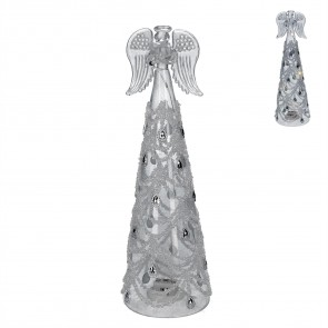 Glass Ornament 27cm - LED Angel w Silver Swags